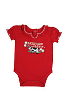 Wrangler® All Around Baby™ Girls Red Barnyard Baby w/ Ruffle Trim Short Sleeve Onesie