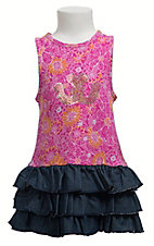 Wrangler® All Around Baby™ Girls Pink and Yellow Floral with Denim Ruffled Bottom Sequined Horseshoes Tank Dress