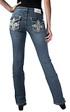 Grace in LA Women's Light Wash with Beige Flower & Crystals Flap Straight Leg Jean - Extended Sizes