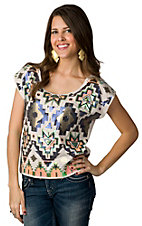 Lovemarks® Women's Cream with Sequins Aztec Design Short Sleeve Fashion Tee
