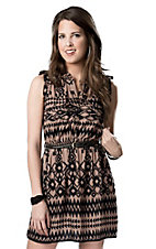 Angie® Women's Brown and Black Aztec with Belt Sleeveless Shirt Dress