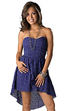 Angie® Women's Purple with Allover Embroidery Hi-Lo Strapless Dress