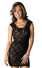 Angie® Women's Black Lace Criss-Cross Back Sleeveless Dress