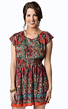 Angie® Women's Red and Teal Paisley Smocked Waist Cutout Back Short Sleeve Dress