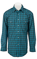 Roughstock® Men's Blue, Brown & Lurex Plaid Long Sleeve Western Shirt R0S1144