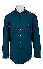 Roughstock® Men's Teal & Blue Print Long Sleeve Western Shirt