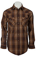 Roughstock® Men's Brown, Rust & Red Plaid Long Sleeve Western Shirt