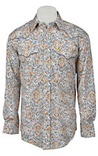 Roughstock® Men's Cream, Blue & Orange Antique Paisley Print Long Sleeve Western Shirt