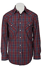 Roughstock® Men's Red, Blue & Grey Plaid Long Sleeve Western Shirt