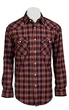 Roughstock® Men's Red, Navy, Orange & Lurex Plaid Long Sleeve Western Shirt R0S2381