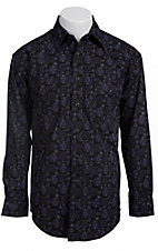 Rough Stock� Men's Black with Purple Vintage Print Long Sleeve Western Shirt R0S5256