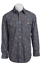 Roughstock Men's Brown with Blue & Tan Paisley Print Long Sleeve Western Shirt R0S5272
