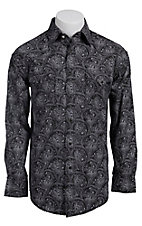 Rough Stock Men's Black with Pale Pink Paisley Print Long Sleeve Western Shirt R0S5277