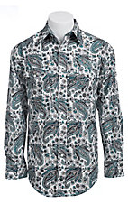 Roughstock Men's White with Navy & Teal Paisley Print Long Sleeve Western Shirt R0S5283