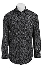 Roughstock Men's Black with White Paisley Print Long Sleeve Western Shirt