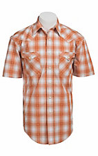 Roughstock® Men's Orange & White Plaid Short Sleeve Western Shirt R1S4409
