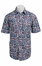 Roughstock® Men's Purple & Turquoise Paisley Short Sleeve Western Shirt R1S4414