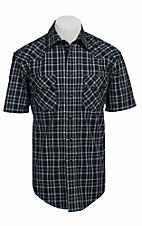Roughstock® Men's Blue, Black & White Plaid Short Sleeve Western Shirt R1S4425