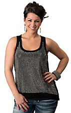 Umgee® Women's Black with Silver Stud Front Sleeveless Fashion Tank Top