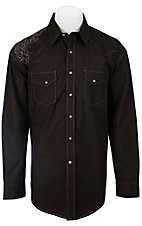 Roughstock® Men's Chocolate w/ Embroidered Shoulder Long Sleeve Western Shirt R2S2376