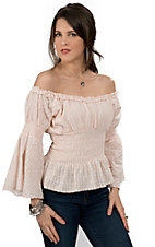 Rancho Estancia® Women's Light Pink Eyelet with Smocking Long Sleeve Peasant Fashion Top