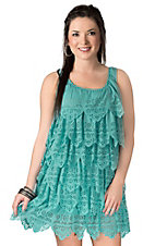 Resistol® Women's Turquoise Flower Cut-Out Scalloped Ruffle Sleeveless Dress