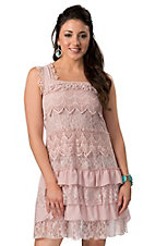 Rancho Estancia® Women's Rose Smoke with Crochet and Lace Sleeveless Dress