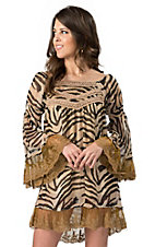 Rancho Estancia® Women's Zoey Tan and Black Zebra Print with Lace Chiffon Long Sleeve Dress