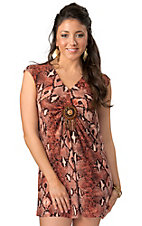 Rancho Estancia® Women's Red and Black Python Print with Beads Sleeveless Tunic Dress