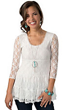 Rancho Estancia® Women's White Lace 3/4 Sleeve Fashion Top