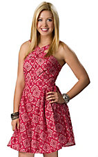 RU Cowgirl® Women's Red and White Bandana Sleeveless Dress
