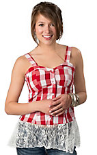 Rancho Estancia® Women's Darby Red & White Picnic Plaid Sleeveless Top