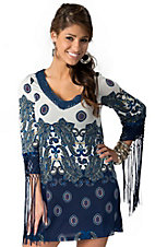 Rancho Estancia® Women's White and Blue Paisley with Fringe 3/4 Sleeve Dress