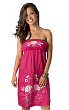 Rancho Estancia® Women's Moroccan Berry with White Floral Embroidery Strapless Tube Dress