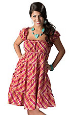 Resistol® Women's Pink and Orange Plaid Tiered Babydoll Ruffle Short Sleeve Dress