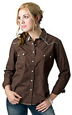 Roughstock® Women's Brown with Tan Print and Blue Stitching Long Sleeve Western Shirt
