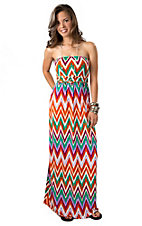 Karlie® Women's Orange, Teal and Purple Chevron Sleeveless Tube Maxi Dress