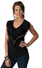 Rancho Estancia® Women's Black Fringe with Wooden Beads V-Neck Sleeveless Fashion Top