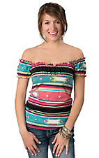Rancho Estancia® Women's Multicolor Southwest Stripe Peasant Top