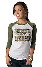 ATX Mafia® Women's White Redneck at Heart with Camo and 3/4 Green Sleeves Baseball Tee