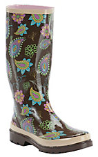 Beehive® Rain Bops™ Ladies Brown Multi Paisley Honeysuckle Rain Boots