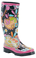 Beehive® Rain Bops™ Ladies Black with Bright Flowers JoJo Rain Boots