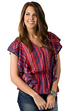 Fashion Fuse® Women's Coral, Red & Blue Chevron Print Short Sleeve Top