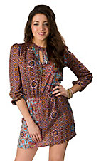 Fashion Fuse® Plum & Turquoise Floral Print Long Sleeve Empire Waist Dress