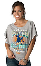 ATX Mafia® Women's Grey Rodeo Ain't No Dog and Pony Show Short Dolman Sleeve Tee