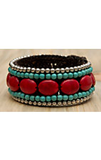 Pannee® Red & Turquoise Stones with Silver Beads Brown Rope Cuff