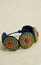 Pannee® Green, Blue, Orange and Gold Beads with Blue Rope Circle Bracelet