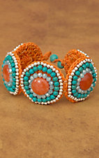 Pannee® Turquoise and Silver Beads with Orange Rope Circle Bracelet