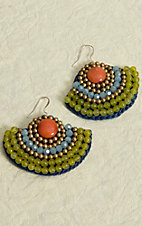 Pannee® Green, Blue, Orange and Gold Beads with Blue Rope Fan Dangle Earrings