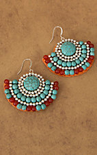 Pannee® Turquoise and Silver Beads with Orange Rope Fan Dangle Earrings